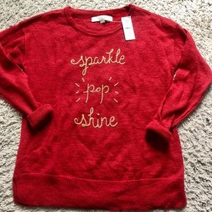 NWT Ann Taylor Loft XS Red Holiday Sweater!